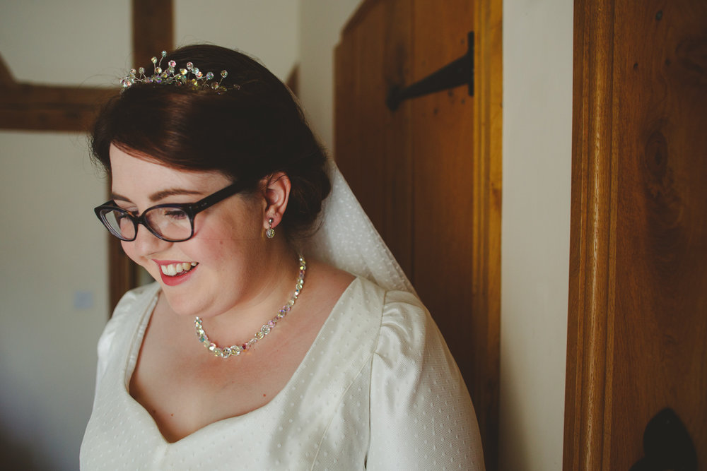 bride in glasses, derby wedding photo