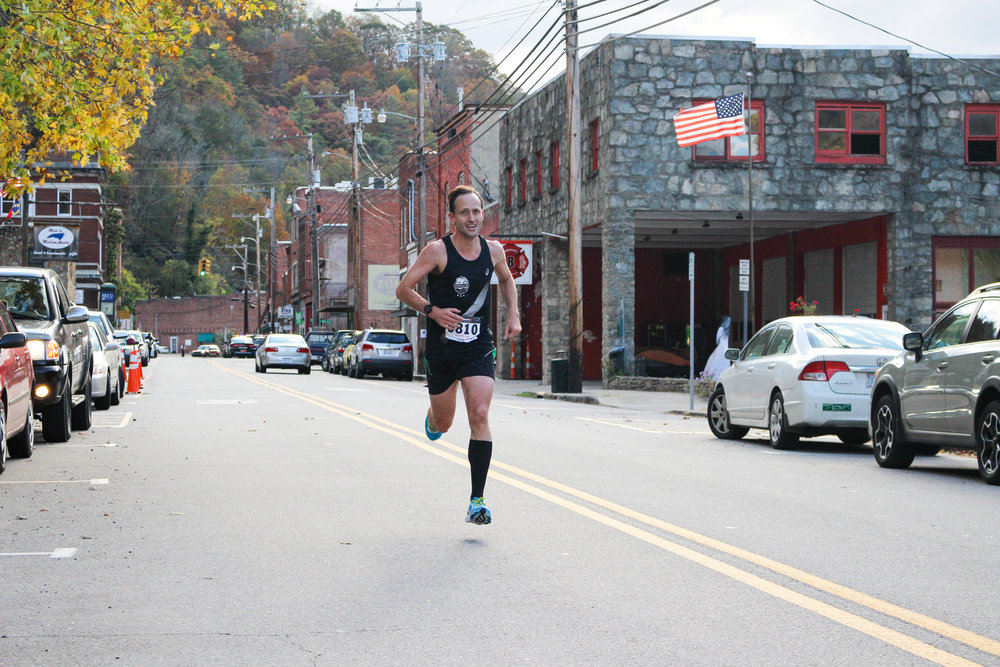 Frankie Adkins flying to the finish in downtown Marshall.