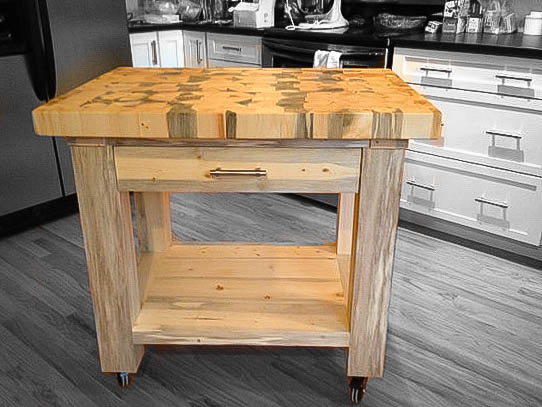 The Tabor -    Single Drawer Kitchen Island  shown in natural stain Contact Us for help and get an exact quote for your Kitchen Island