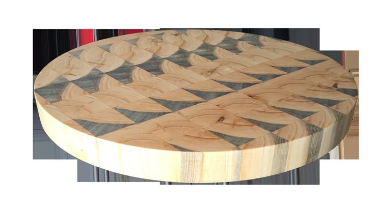circular butcher block cutting board