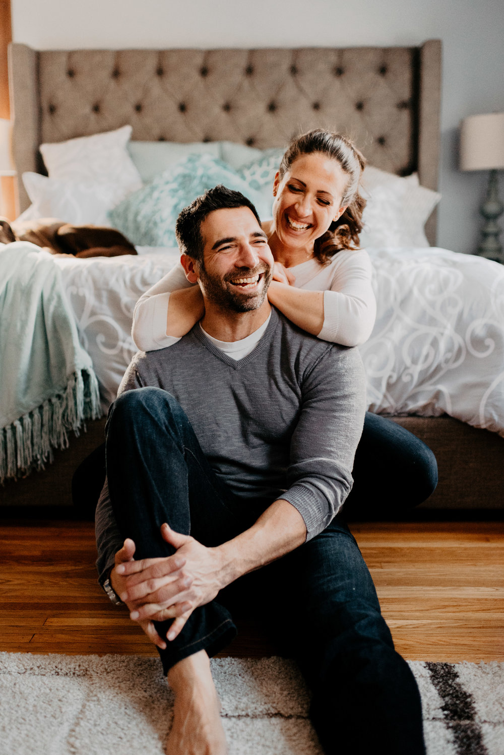 In-home engagement session with afternoon light.