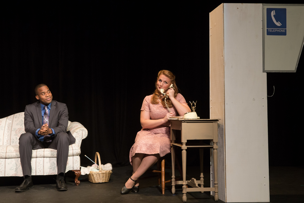 Lucy in  The Telephone.  With Michael Lowe as Ben.Photo cred: Kelly Hicks
