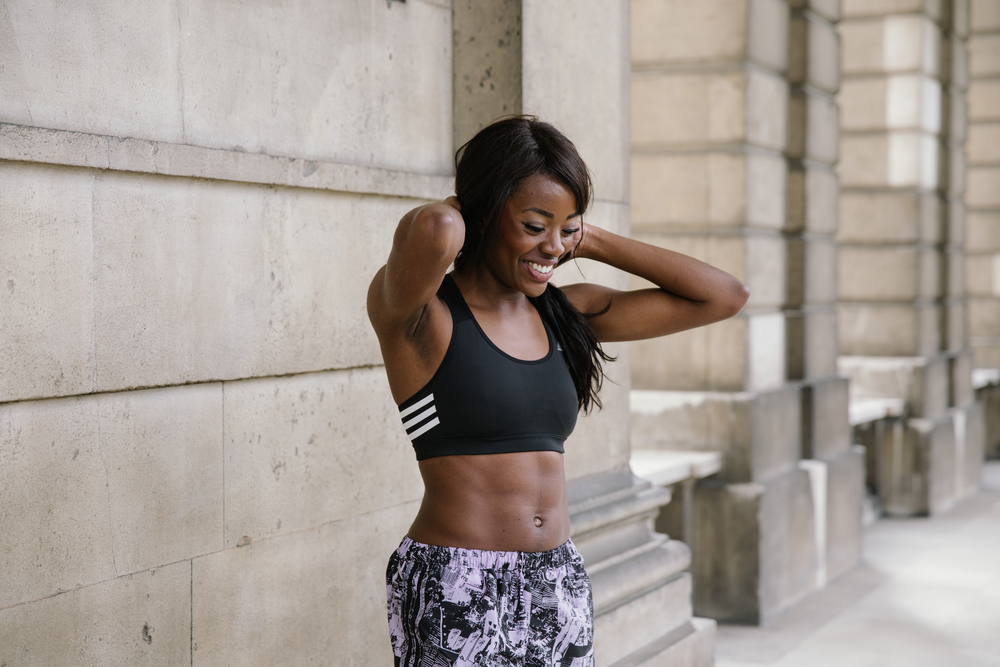 adidas #workit crop top & shorts AJ Odudu