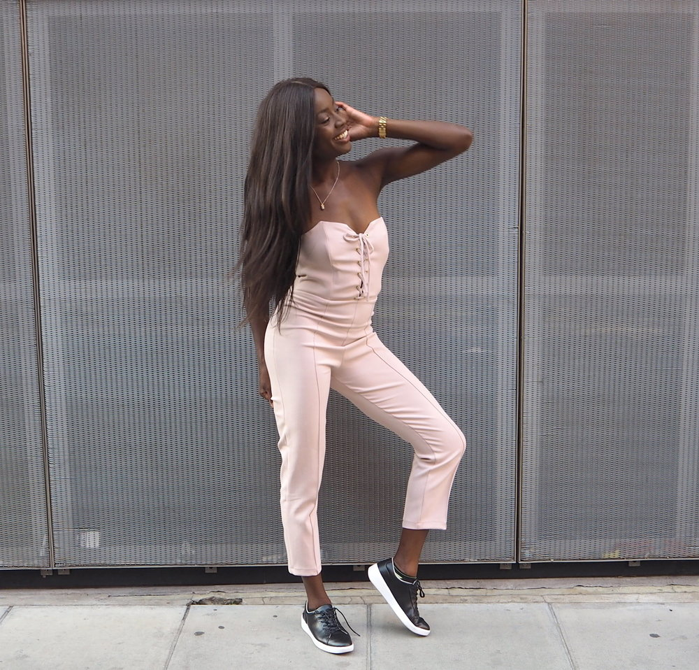 Rare London Nude Lace Up Tailored Jumpsuit