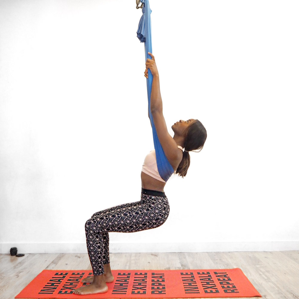 Chair Pose Aerial Yoga