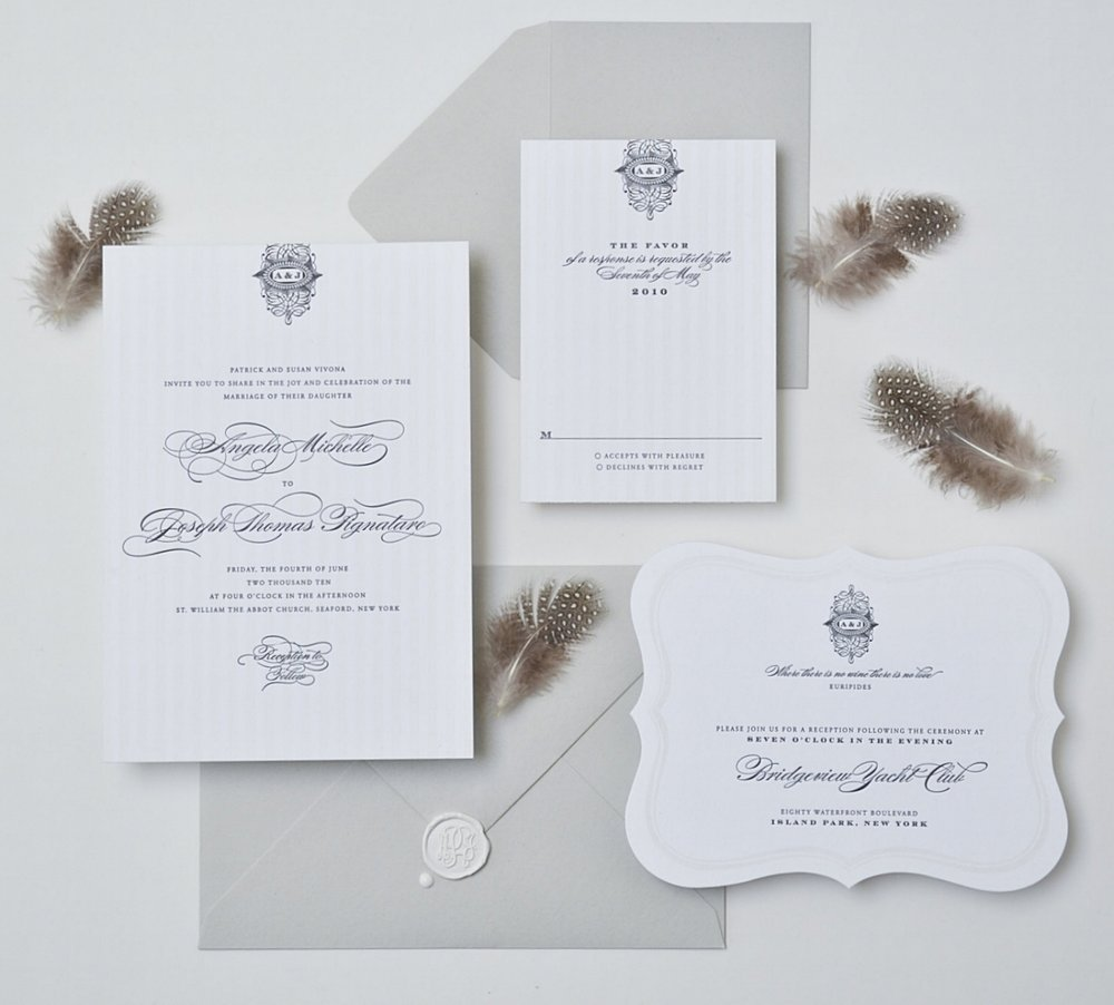 REGALIA  Two Color Letterpress on Bright White Paper