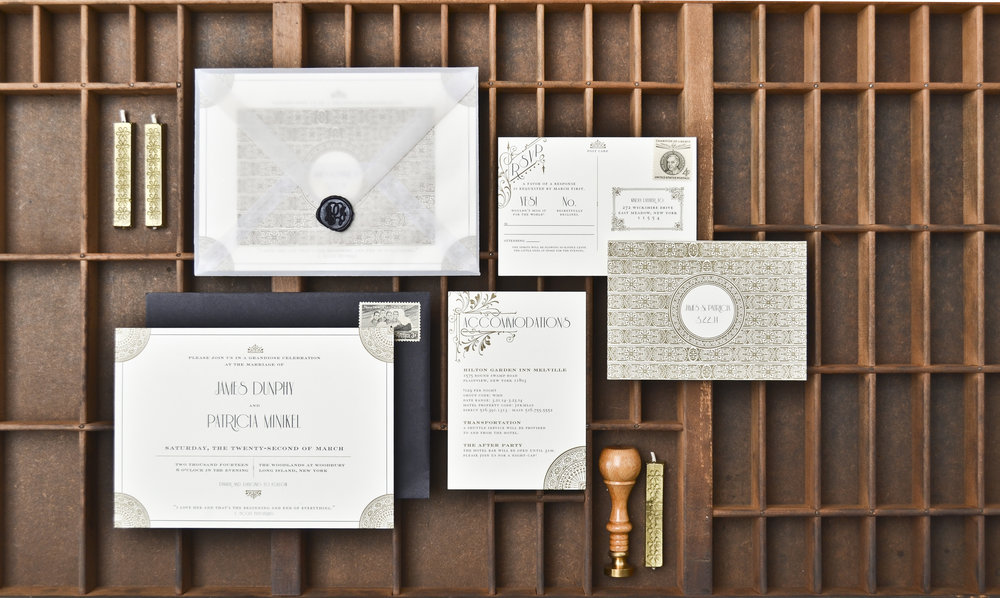 FITZGERALD Letterpress & Foil on Pearl White Paper