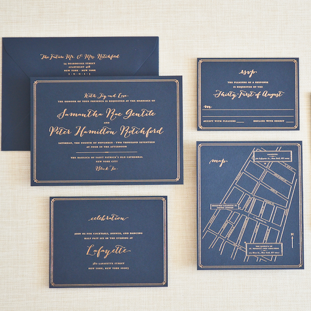 LAFAYETTE Copper Foil on Navy Paper