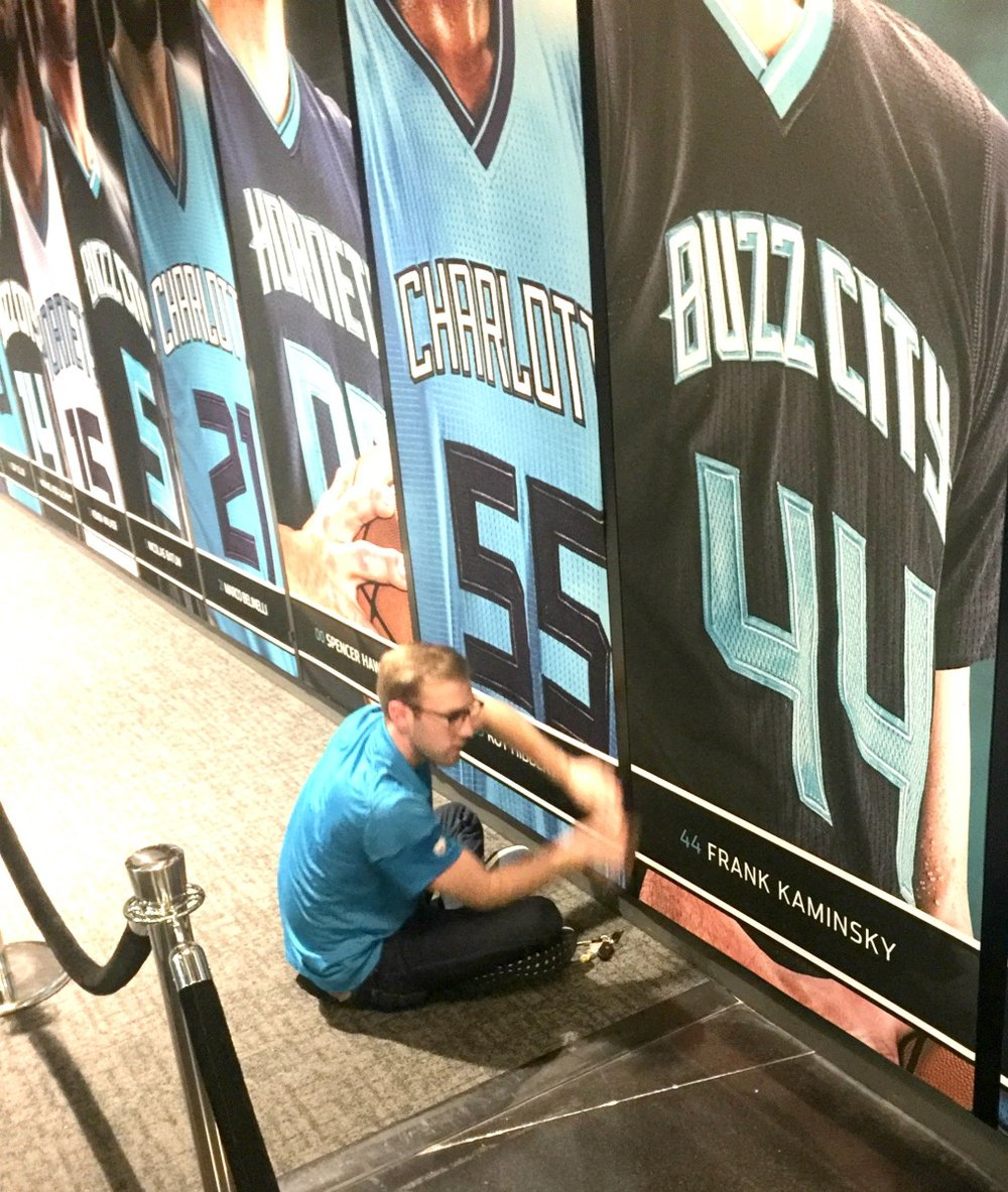 XP Retail Installation of Hornets Player Wall