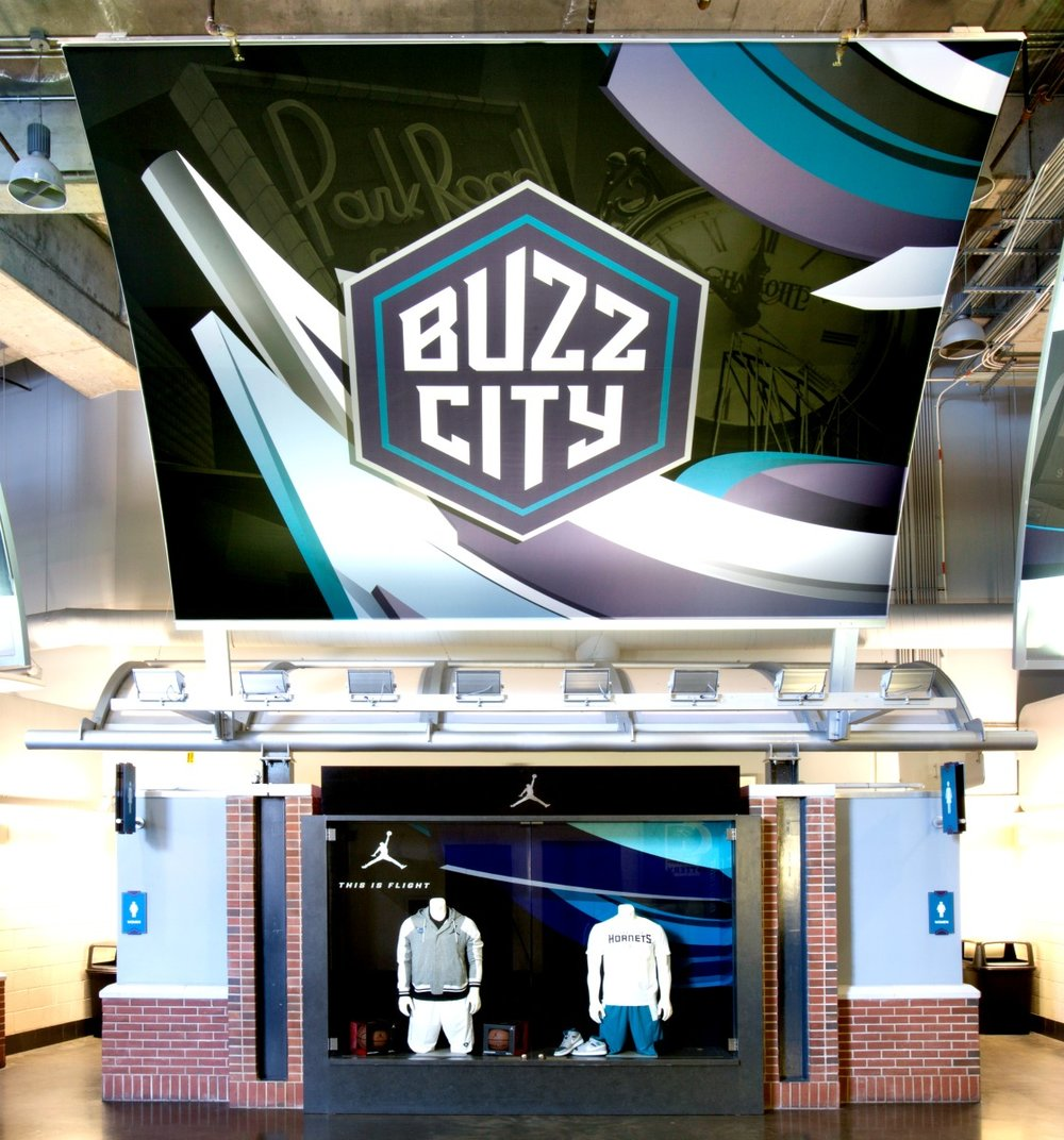Buzz City matrix Frame Curved Tension Fabric Sign