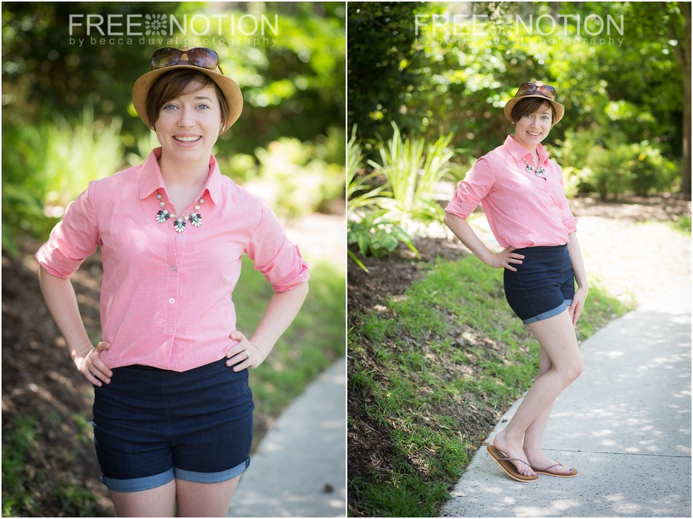 Liesl + Co Gallery Tunic (Modified) | Fabric Finders Watermelon Gingham from Whimsical Fabric | Jocole High Waist Skinnies