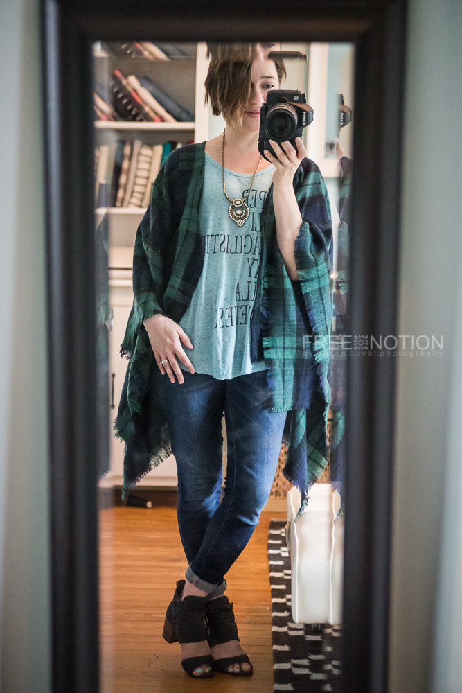 I've styled my tartan kaftan with a Cali Faye Basics Tank, the Havana Pendant Necklace, skinnies and open toed booties from Joyfolie.