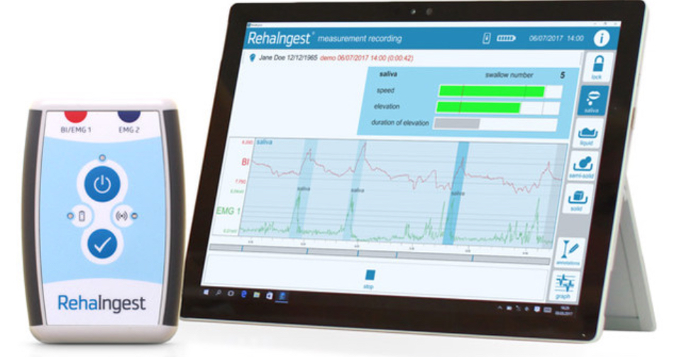 RehaIngest uses a small measurement module and a tablet computer