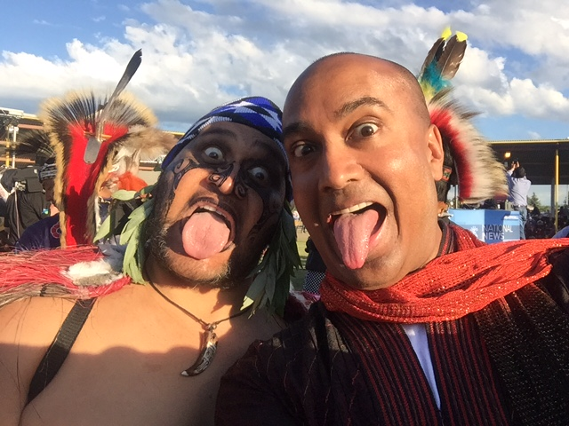 Whetu Rangihaeta from New Zealand shows me the Maori way of saying hello!