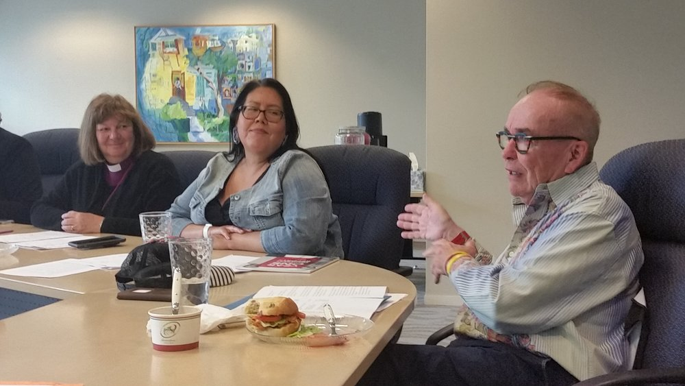 From right: Bishop Jane Alexander, Cheryl Whiskeyjack and Michael Phair converse during the Stewardship Round Table on August 22, 2018 where Whiskeyjack and Phair were announced as incoming co-chairs for the leadership group.