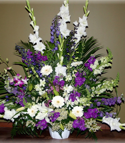 2. Purple and white flower spray