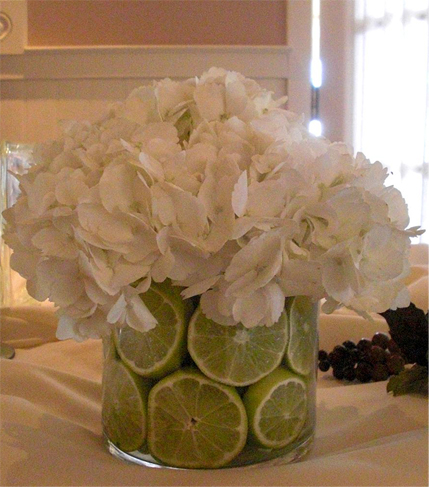 3. Hydrangea in glasswith lime slices