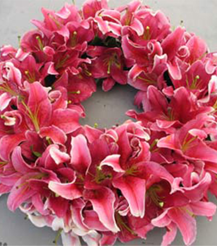 6. Wreath in pink tiger lilies