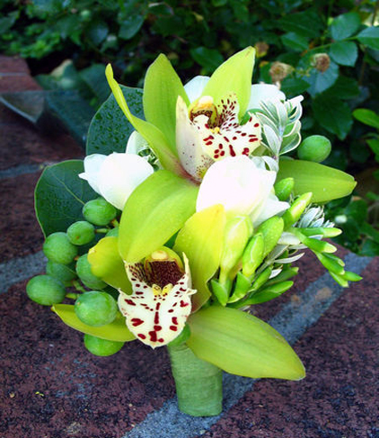 1. Corsage cymbidium orchid with berries