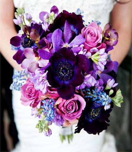 5. Bridal bouquet - in pink & purple
