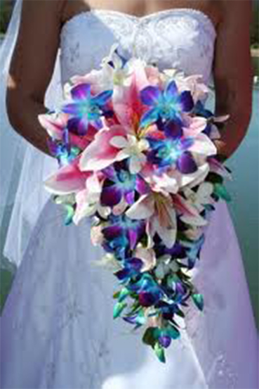 8. Bride's trailing bouquet turquoise & pink