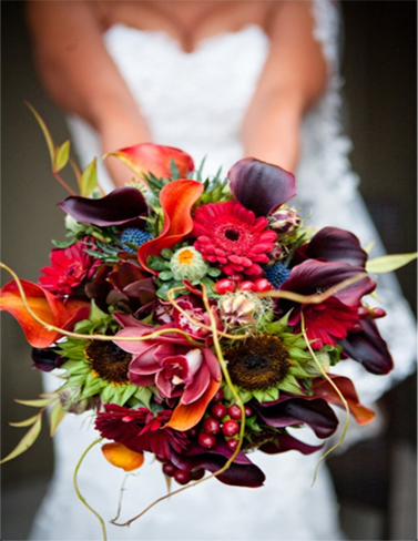 11. Bride's bouquet in orange, red & plum