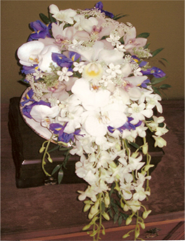 14. Bride's bouquet white lilies & irises