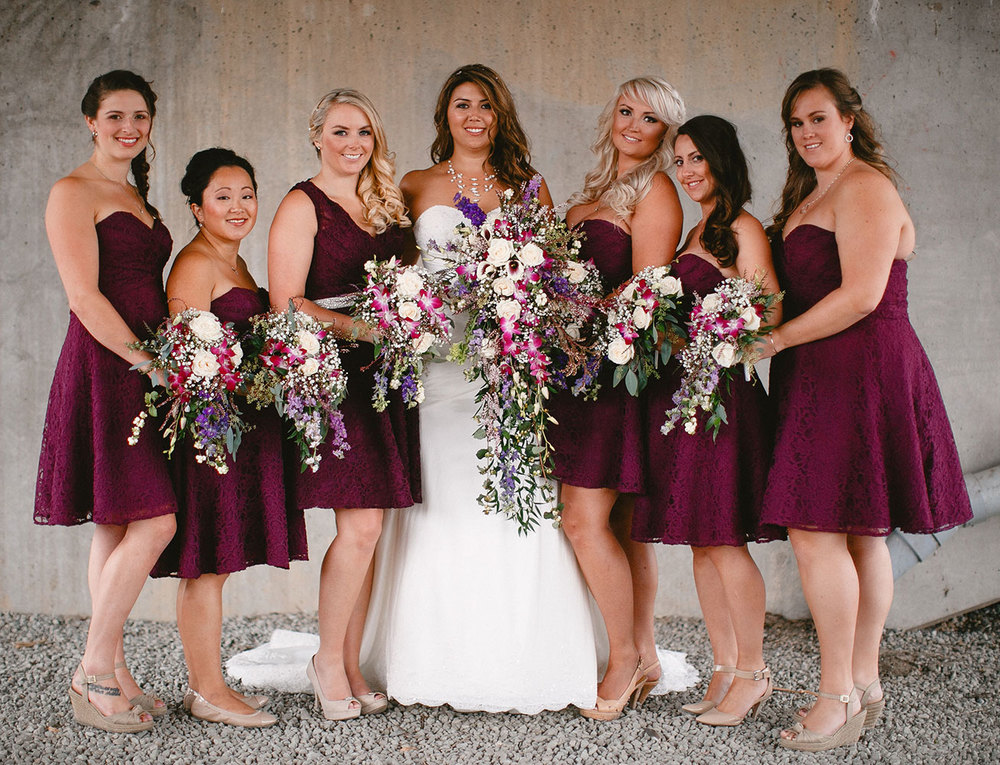 Bride's and bridesmaid's matching  bouquets