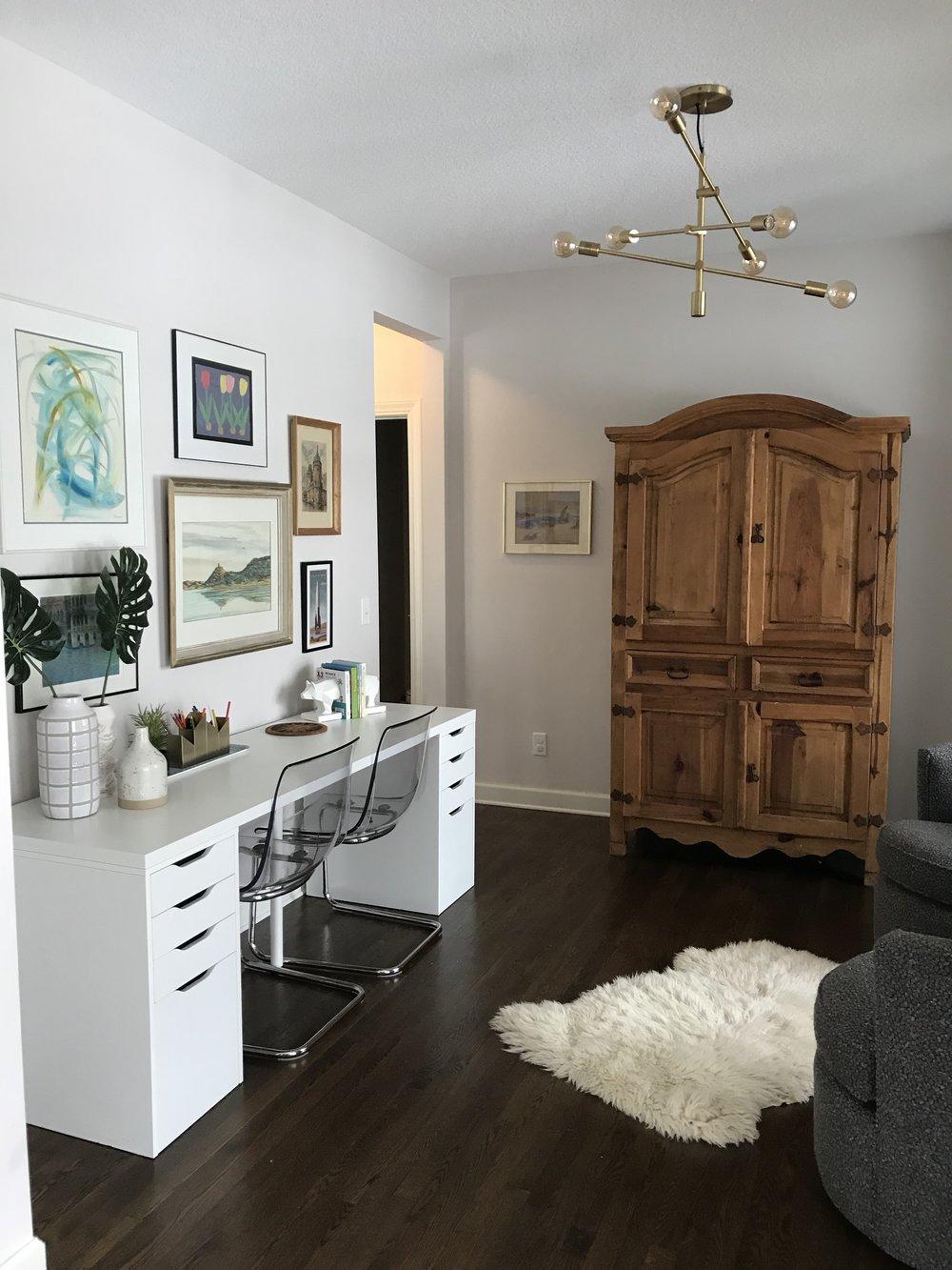 Modern office with pine bureau and IKEA Linnmon white desk and sheep skin rug