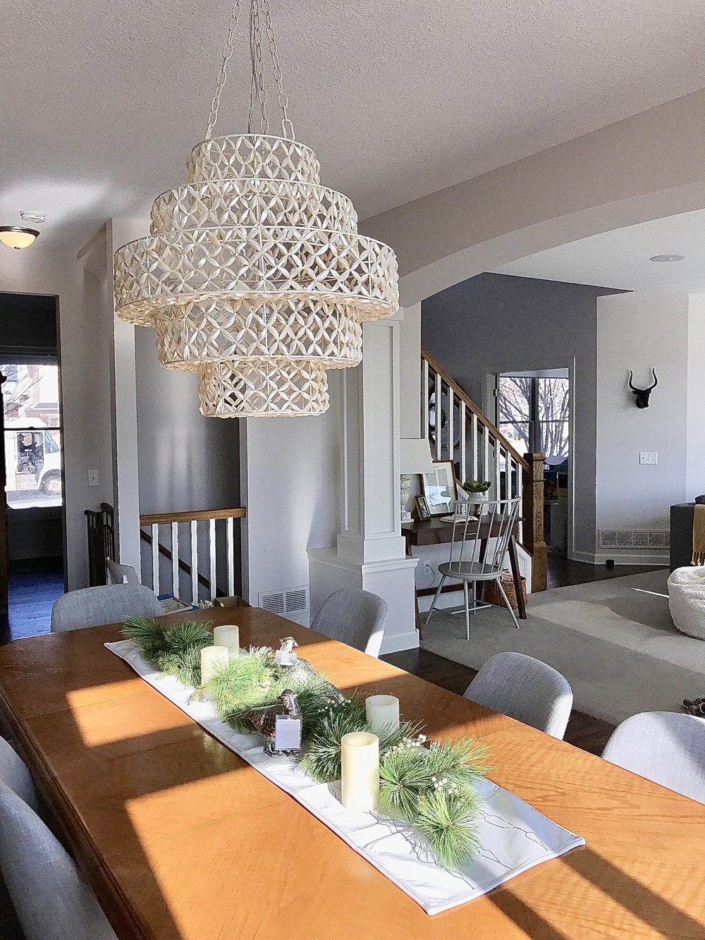 beaded Anthropologie chandelier dining room