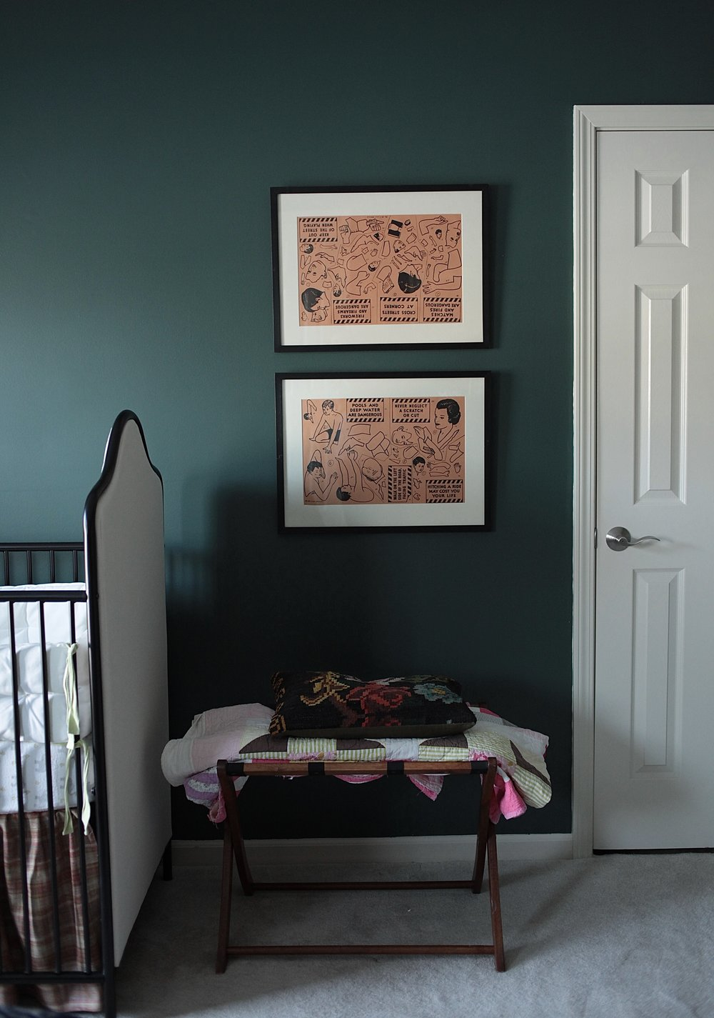 Goodwin Green paint color and peach art