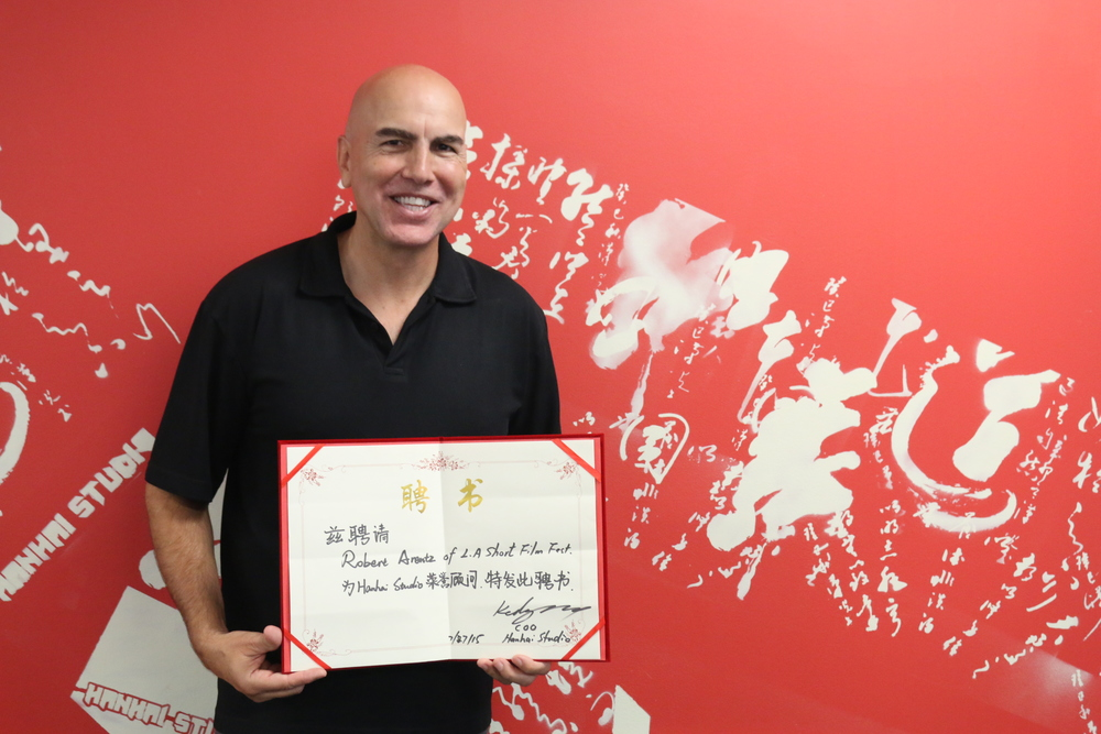 Robert Arentz, the founder of LA Shorts Fest,is at Hanhai Studio.