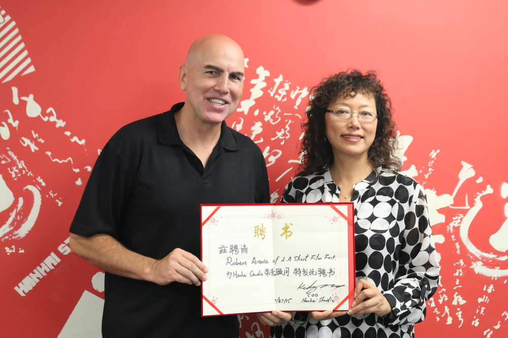 Robert Arentz(Left), Founder of the LA Shorts Fest; Kelly Zhang, COO of Hanhai Studio