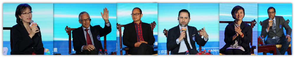 (Left to right:   COO of Hanhai Studio Kelly Zhang, Executive Vice President Of East West Bank Bennett Pozil, President of Juyinghui Yuqing Zhu, Partner of Greenberg & Traurig, LLP Tom Ara, President of Film Finances China April Ye and Director of Lion King Rob Minkoff)