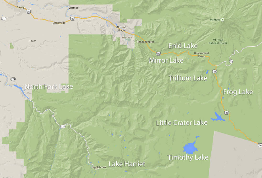 This map shows the seven lakes I went to (Mirror, Trillium, Frog, Little Crater, Timothy, Harriet, and North Fork), as well as the one I got lost trying to see (Enid) during my 48-hour trek around Government Camp and Mount Hood, Oregon.