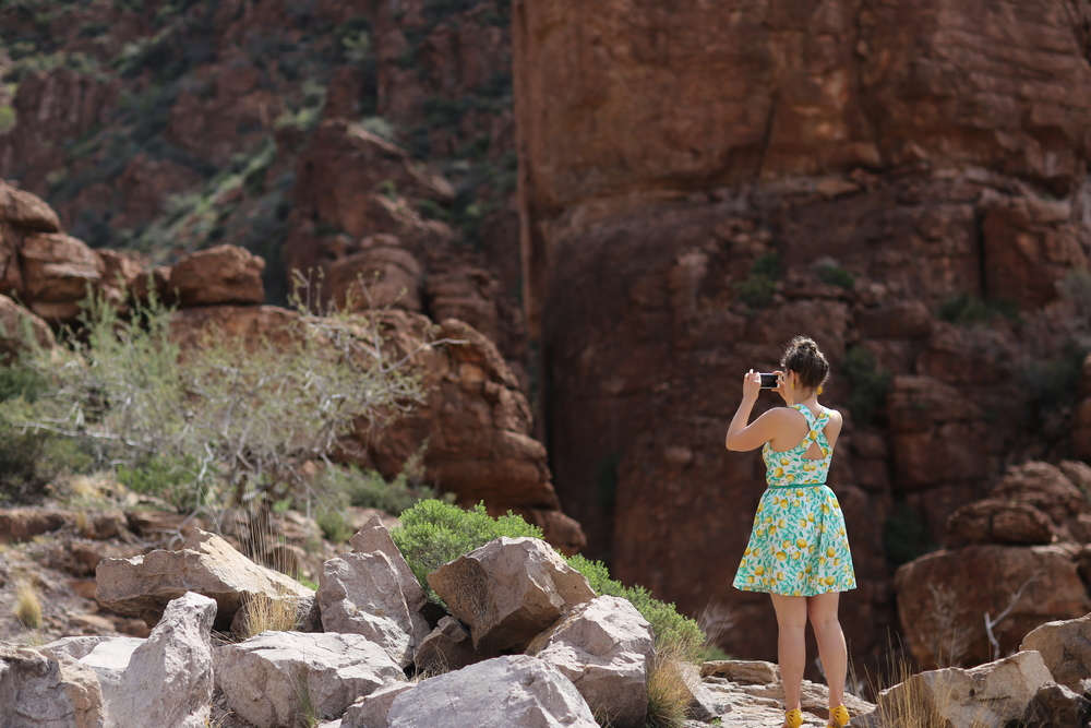 Meghan Sinnott photographing the Pinal Mountains