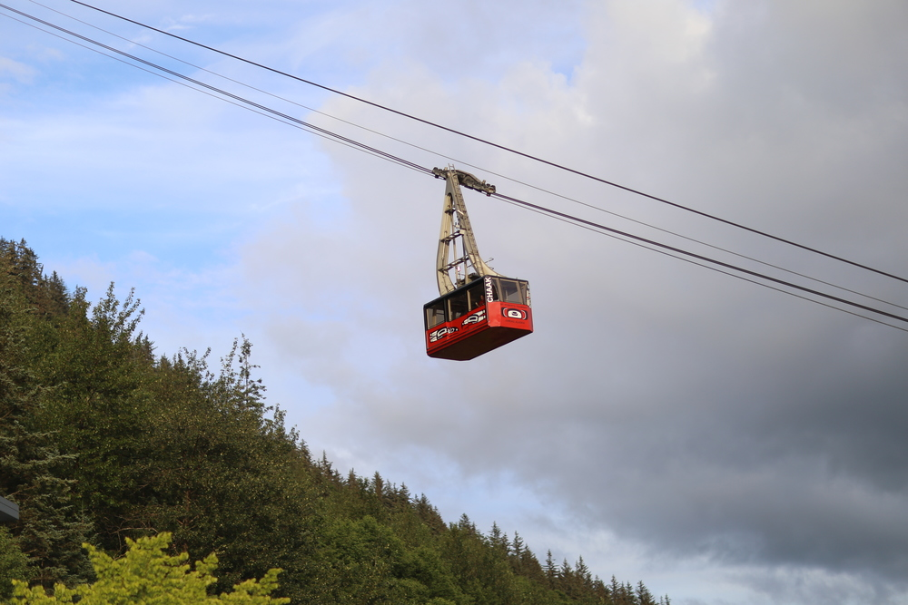 Mount Roberts Tramway rising above downtown Juneau