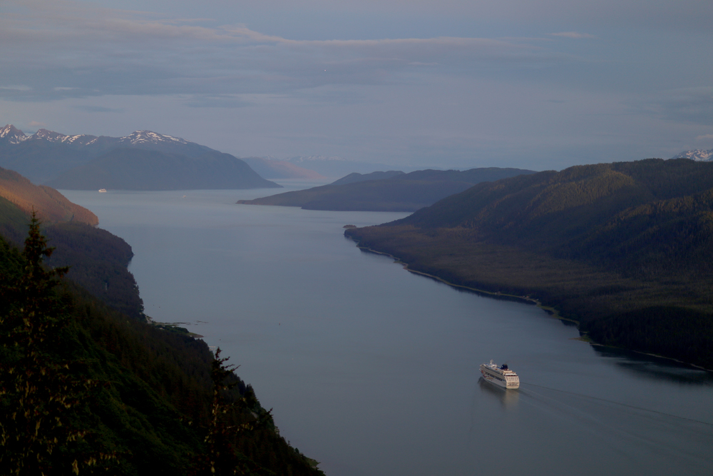 Cruise ship heading south out of Juneau