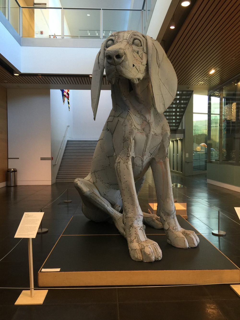 10-foot-tall cardboard dog, Leroy, The Big Pup (by Scott Fife) in the lobby of the Tacoma Art Museum