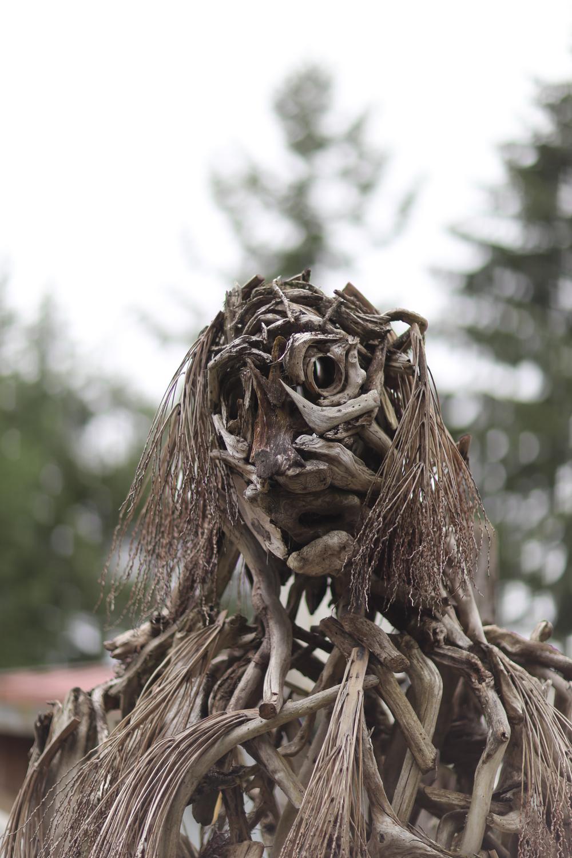 Wooden Bigfoot, close-up
