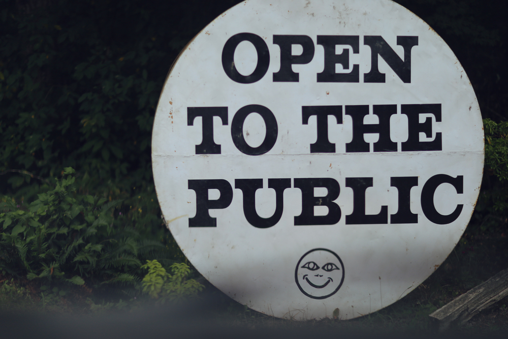 """Open to the Public"" sign at the entrance"