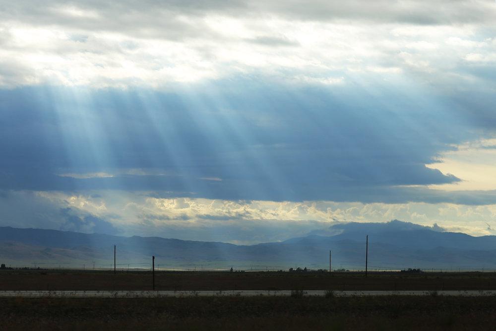 Sun beams near Mountain Home, Idaho