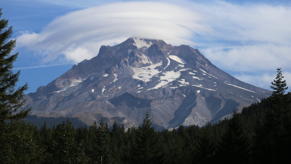 Mount Hood with lenticular cloud, on my way to Trillium Lake
