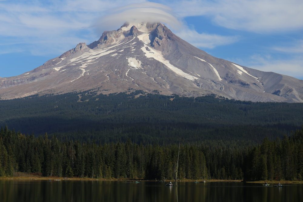 Mount Hood looms above Trillium Lake