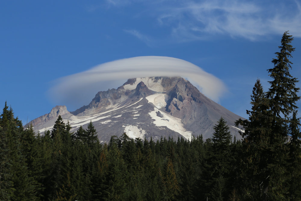 Mount Hood with lenticular cloud, as I leave Trillium Lake and head to Little Crater Lake