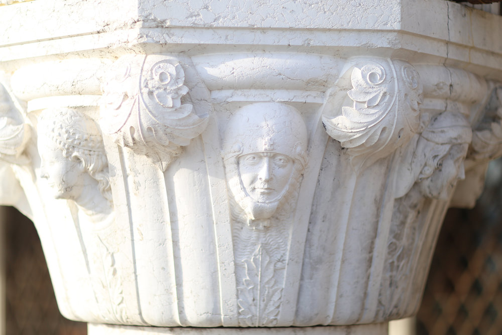 Restored column capitals at the Palazzo Ducale