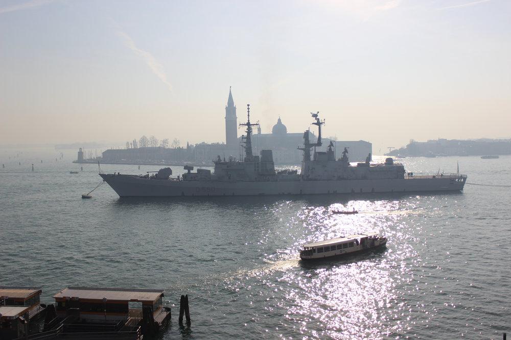 Italian warship anchored off San Giorgio Maggiore