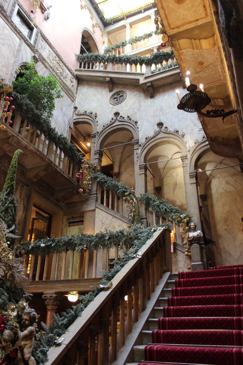 Main stairs leaving the Hotel Danieli lobby
