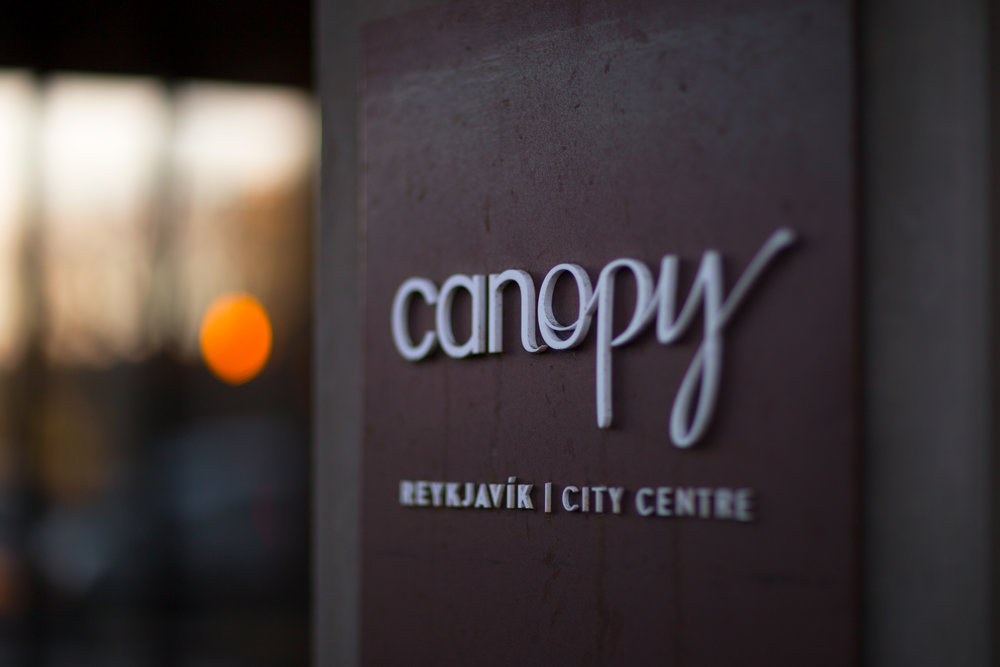Canopy by Hilton's front door sign