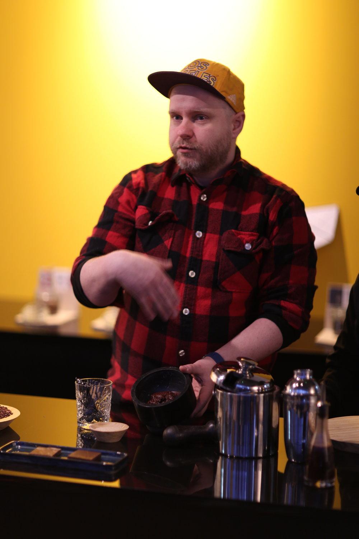Omnom cofounder Kjartan Gislason leads an overview of chocolate
